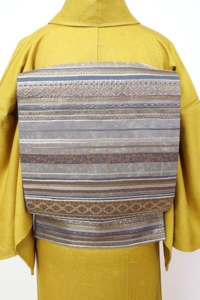 銀座【L-5512】西陣 加納幸製 袋帯 銀色 有職文の横段(落款入)