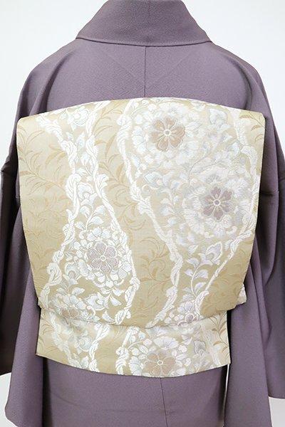 銀座【L-5515】洒落袋帯 砂色 流線に装飾花文