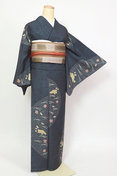 銀座【D-2726】紬地 小紋 青褐色 芝に兎の図