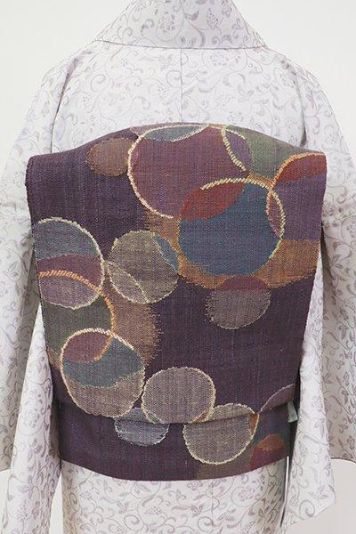 銀座【K-7277】西陣 渡文製 紬地 織八寸名古屋帯 葡萄鼠色 抽象文(落款入)