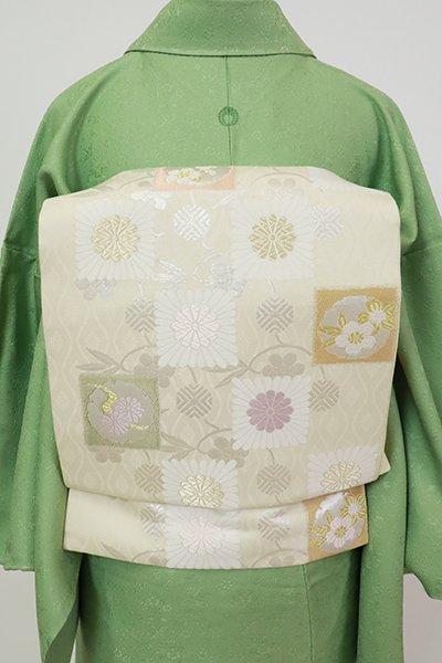 銀座【K-7279】織名古屋帯 練色 笹蔓に雪輪や菊の図
