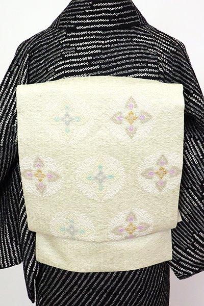 銀座【K-7280】紬地 織名古屋帯 灰黄緑色 有職丸文
