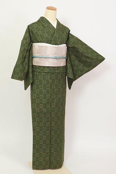 銀座【A-3293】紬 花織 深い松葉色 幾何文