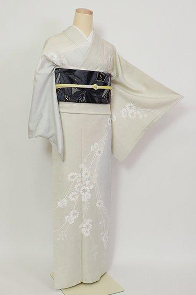 銀座【B-2835】付下げ 灰黄緑色×白花色 菊と蘭の図
