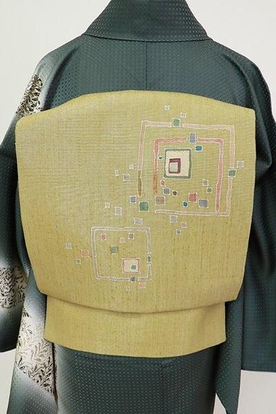 銀座【K-7282】紬地 染名古屋帯 木蘭色 抽象文