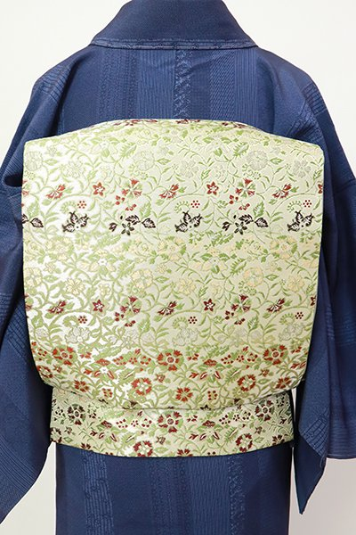 銀座【L-5519】たつむら製 袋帯 砂色 「早雲寺文台裂」(証紙付・反端付)
