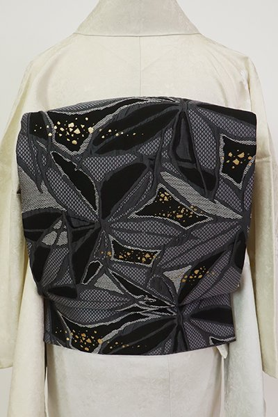 銀座【L-5520】袋帯 青褐色 花の図
