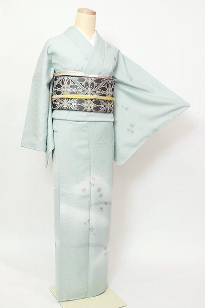 銀座【B-2837】(L・細め)染一ッ紋 きもの英製 付下げ 藍白色 遠山に松の図