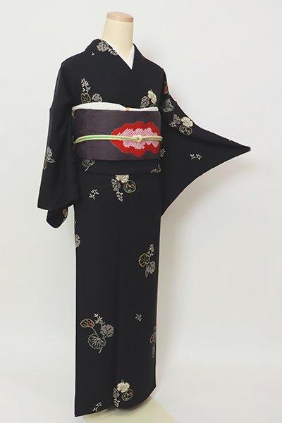 銀座【D-2728】(広め)小紋 黒色 植物文