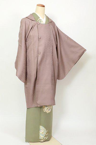 銀座【E-1357】被布衿 和装コート 梅鼠色 羊歯文の地紋