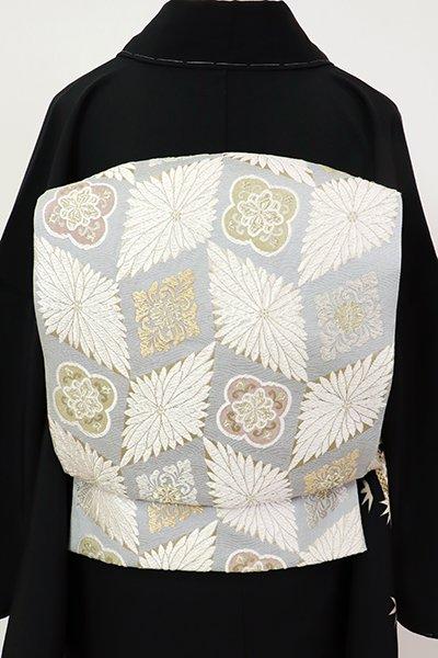 銀座【L-5521】袋帯 白鼠色 菊菱や花文