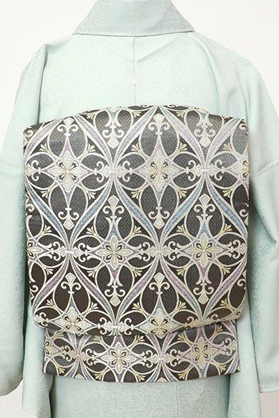 銀座【L-5523】西陣製 袋帯 墨色 装飾立涌文
