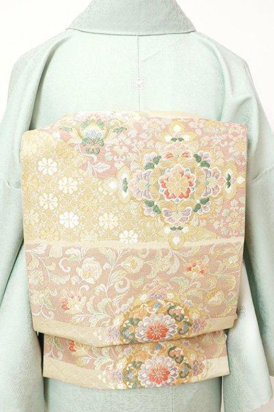 銀座【L-5524】袋帯 薄卵色 横段に華文や唐花の図