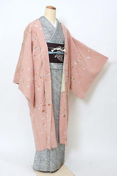 銀座【E-1359】刺繍 羽織 珊瑚色 桜や宝尽くし文