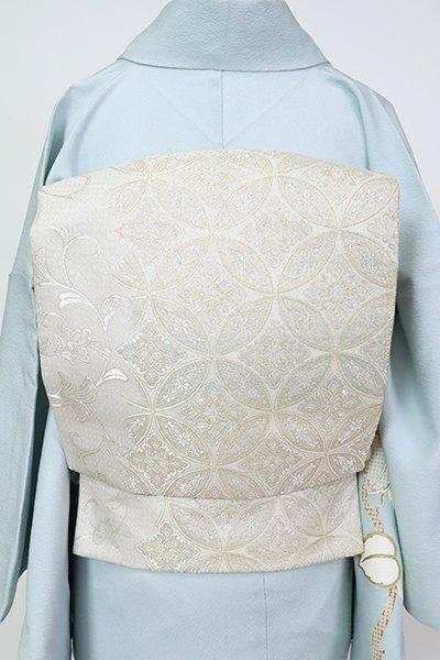銀座【L-5526】西陣製 袋帯 白色 七宝繋ぎ文
