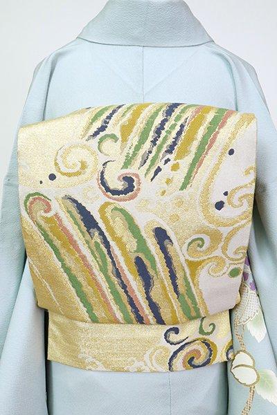 銀座【L-5527】袋帯 金色 波頭文
