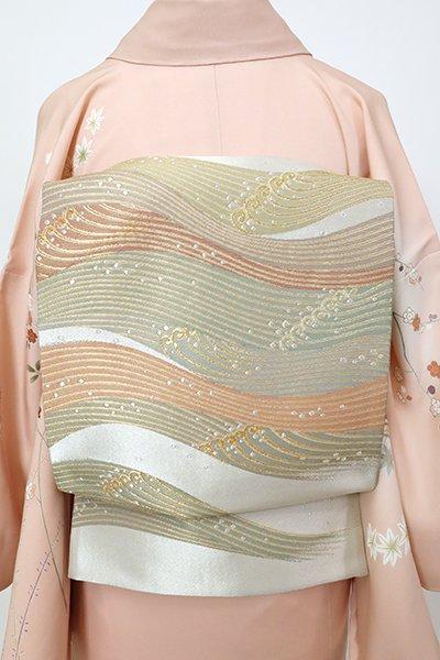 銀座【L-5528】西陣 祥園製 袋帯 銀色 波文(落款入)