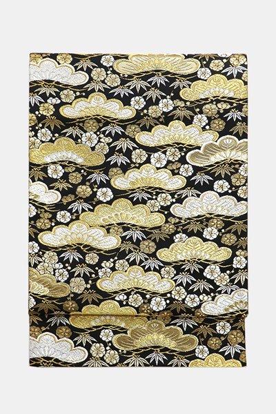 銀座【帯3720】西陣 河村織物製 袋帯「瑞祥松竹梅文」