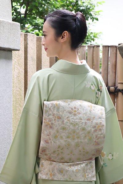 銀座【帯3721】たつむら製 白色 袋帯 銘「宝函唐草錦」