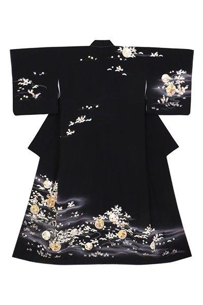 銀座【着物3031】吉澤友禅 訪問着 黒色 雪輪に四季花 (反端付)