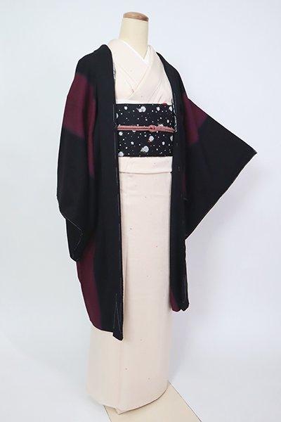 銀座【E-1361】羽織 黒色×紫鳶色 竪暈かし