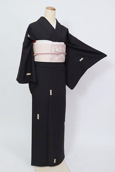 あおき【D-2735】(広め)小紋 憲法黒茶色 更紗花文