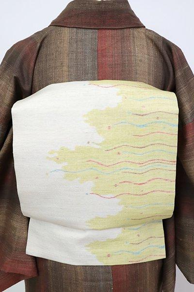 あおき【K-7303】紬地 織名古屋帯 象牙色 抽象文