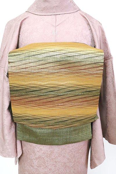 銀座【L-5543】袋帯 金色 波のような横段