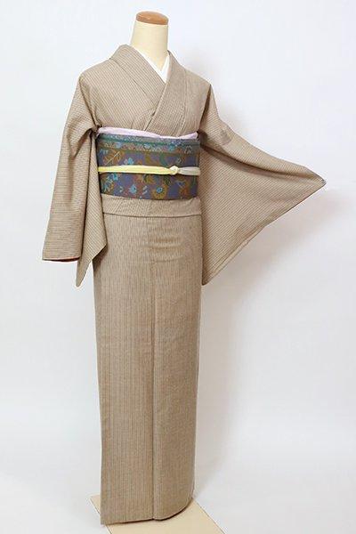 あおき【A-3305】紬 淡い生壁色 竪縞(反端付)