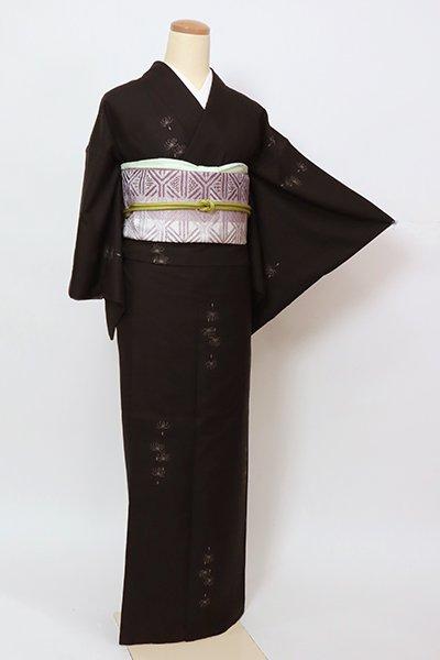 あおき【A-3306】(細め)本場大島紬 憲法黒茶色 綿毛の図(証紙付)