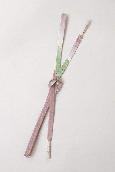 【G-1576】京都衿秀 帯締め 平組 浅紫色×山葵色(N)