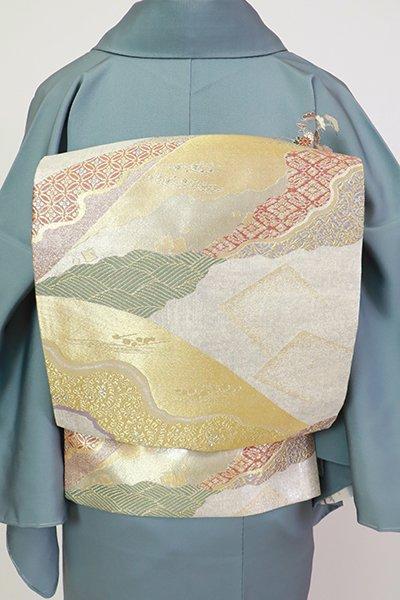 銀座【L-5564】袋帯 銀色×金色 道長取りに料紙文