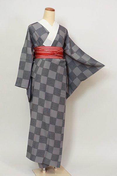 銀座【F-506】長襦袢 灰色×黒色 市松文