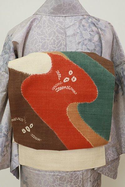 あおき【L-5573】紬地 絞り染め 洒落袋帯 練色 抽象文