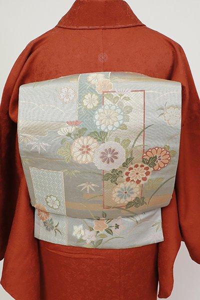 あおき【L-5575】袋帯 灰青色 霞に花々の図