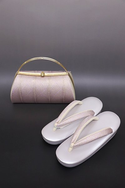 【G-1226】京都 衿秀製 フォーマル草履・バッグセット 組織り 白藤色×金色(新品)