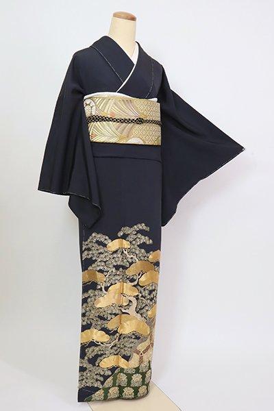 あおき【B-2854】染一ッ紋 総刺繍 色留袖 藍鉄色 松の図(ますいわ屋扱い)