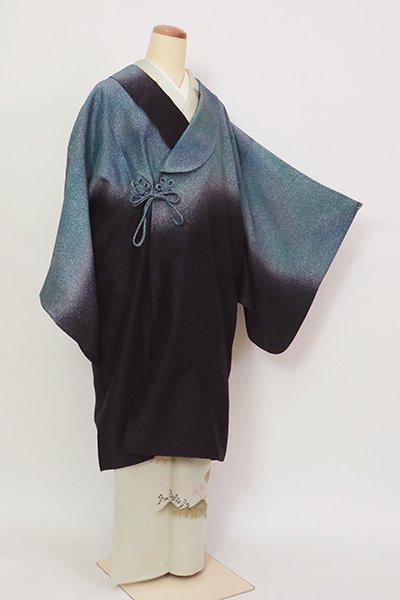 銀座【E-1374】和装コート 藍鉄色 蝋叩き段暈かし(付け衿付)