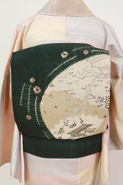 銀座【K-7336】紬地 染名古屋帯 虫襖色 雲取りに花木の図