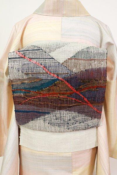 銀座【K-7337】紬地 八寸織名古屋帯  白鼠色 抽象文