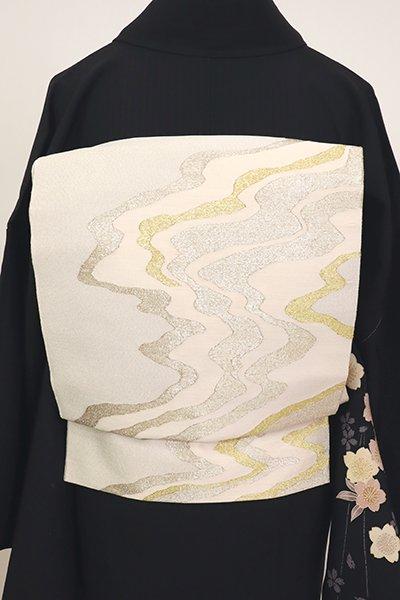 銀座【L-5588】山鹿清華作 綴れ織り 袋帯 白練色 抽象文(落款入)