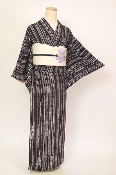 銀座【D-2751】(S)小紋 藤煤竹色 縞に桜の図