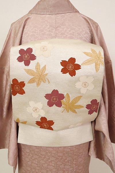 あおき【L-5594】本綴れ 袋帯 白色 桜楓文