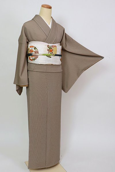 銀座【C-2068】江戸小紋 焦茶色 万筋(反端付)(N)