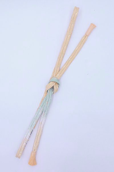 【G-1820】京都衿秀 帯締め 変わり貝の口組 白藍色×雄黄色 暈かし(新品)