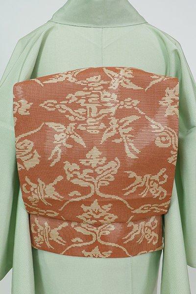 あおき【K-7363】人間国宝 喜多川平朗作 織名古屋帯 遠州茶色 上代裂文