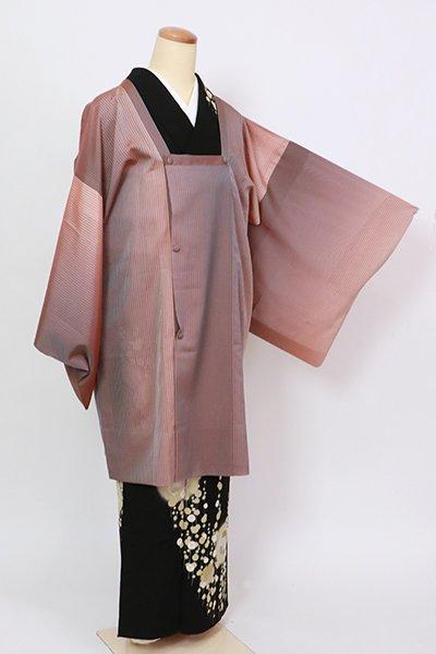 銀座【E-1378】薄物 道行コート 紫鼠色×水柿色 縞に竪暈かし