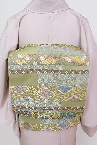 銀座【L-5619】袋帯 柳茶色 横段に有職文など