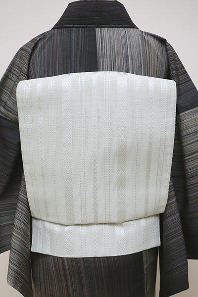 あおき【K-6053-3】本場筑前博多織 紗献上 八寸名古屋帯 淡い青磁鼠色(証紙付)(N)