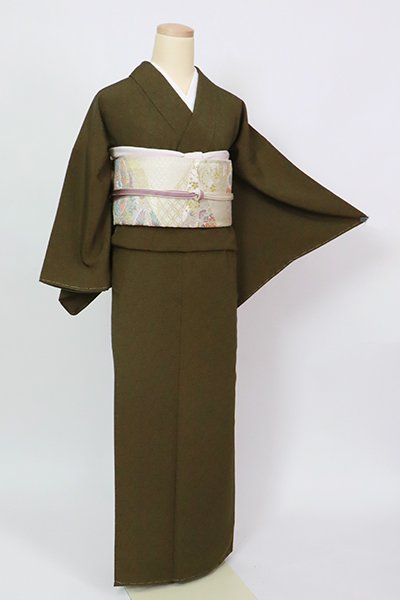 あおき【C-2077】(S)中村勇二郎作 伊勢型小紋 璃寛茶色 古代菊(落款入)